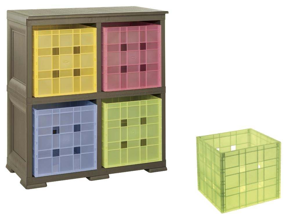 """Unit with 4 Shelves in """"wood"""" style & 4 Coloured Boxes"""
