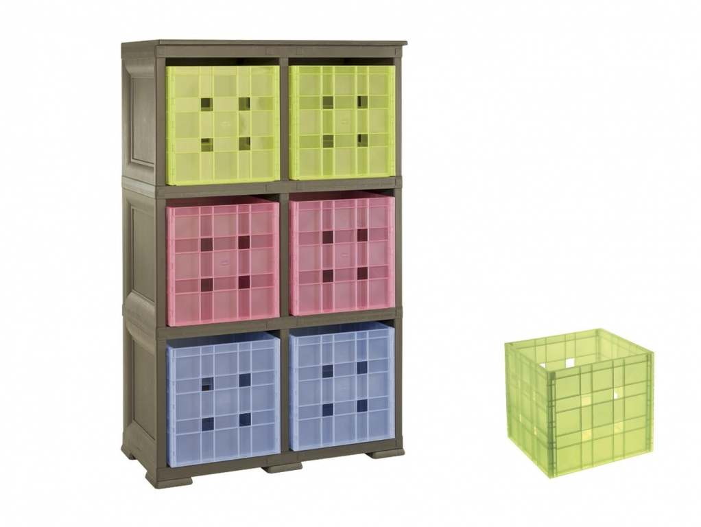 """Unit with 6 Shelves in """"wood"""" style & 6 Coloured Boxes"""