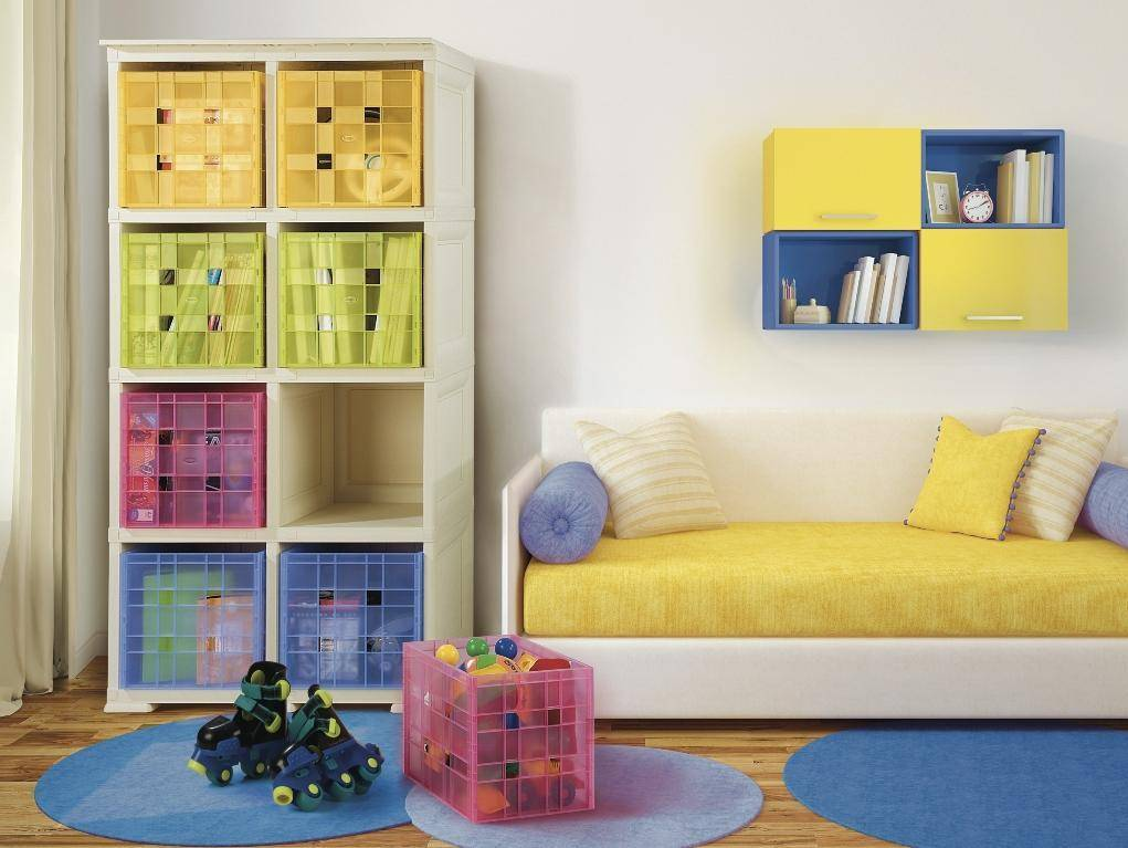 """Unit with 8 Shelves in """"wood"""" style & 8 Coloured Boxes"""