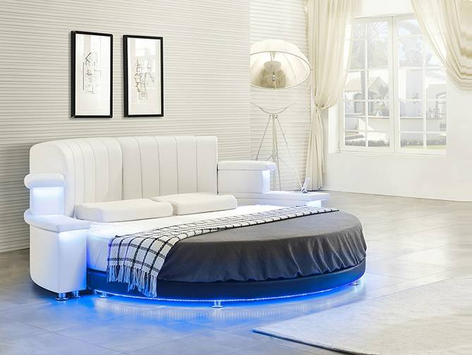 High Quality Maritza Round Bed With Led Lighting U0026 Speakers | Cyprus Furniture, Online  Furniture, Έπιπλα Κύπρος, EShop Cyprus
